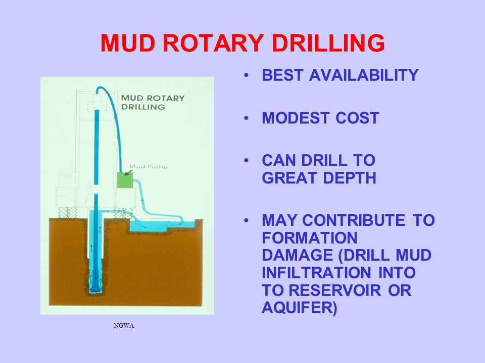 MUD ROTARY DRILLING BEST AVAILABILITY MODEST COST