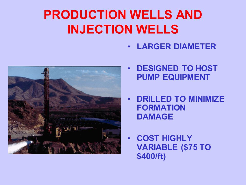 PRODUCTION WELLS AND INJECTION WELLS