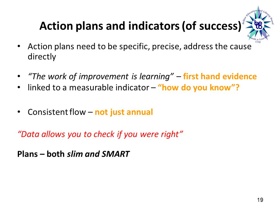 Action plans and indicators (of success)