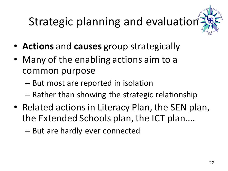 Strategic planning and evaluation