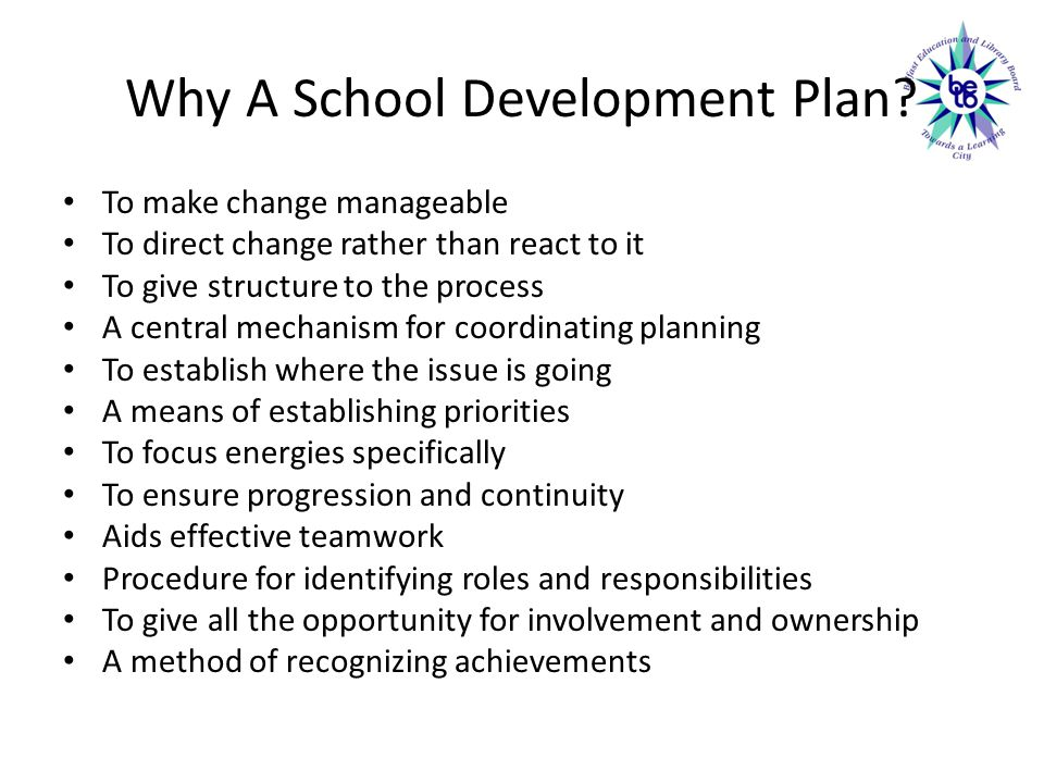 Why A School Development Plan