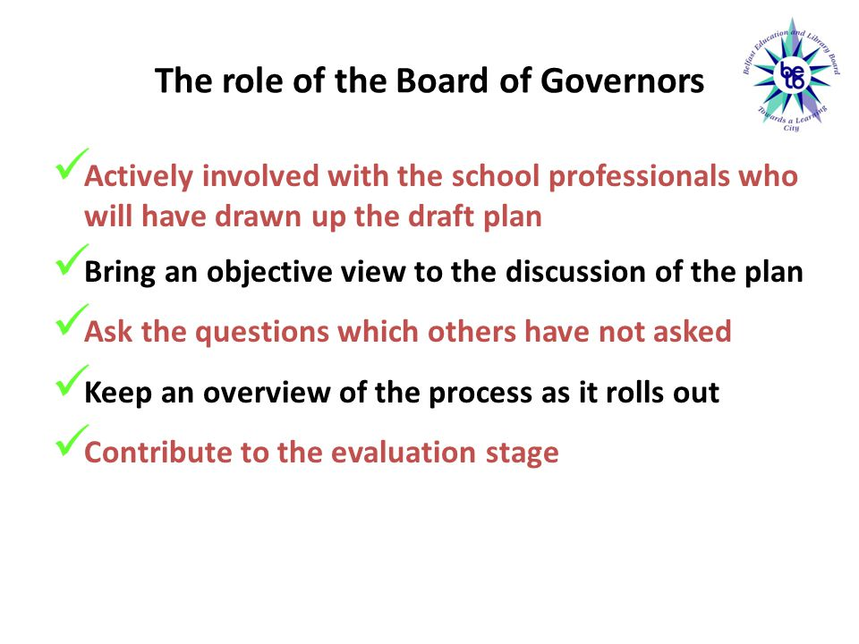 The role of the Board of Governors