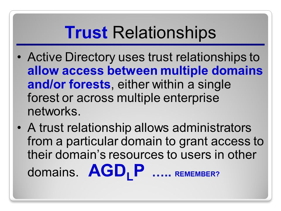 active directory trust relationship between two forests in england