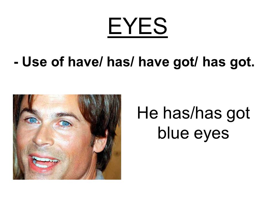 He has/has got blue eyes