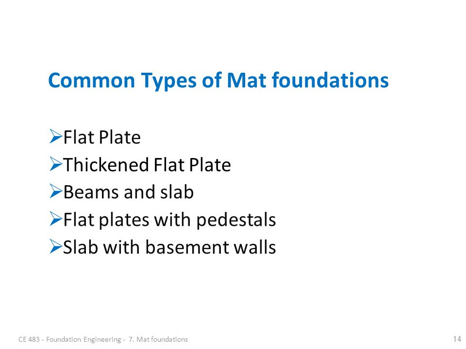Common Types of Mat foundations