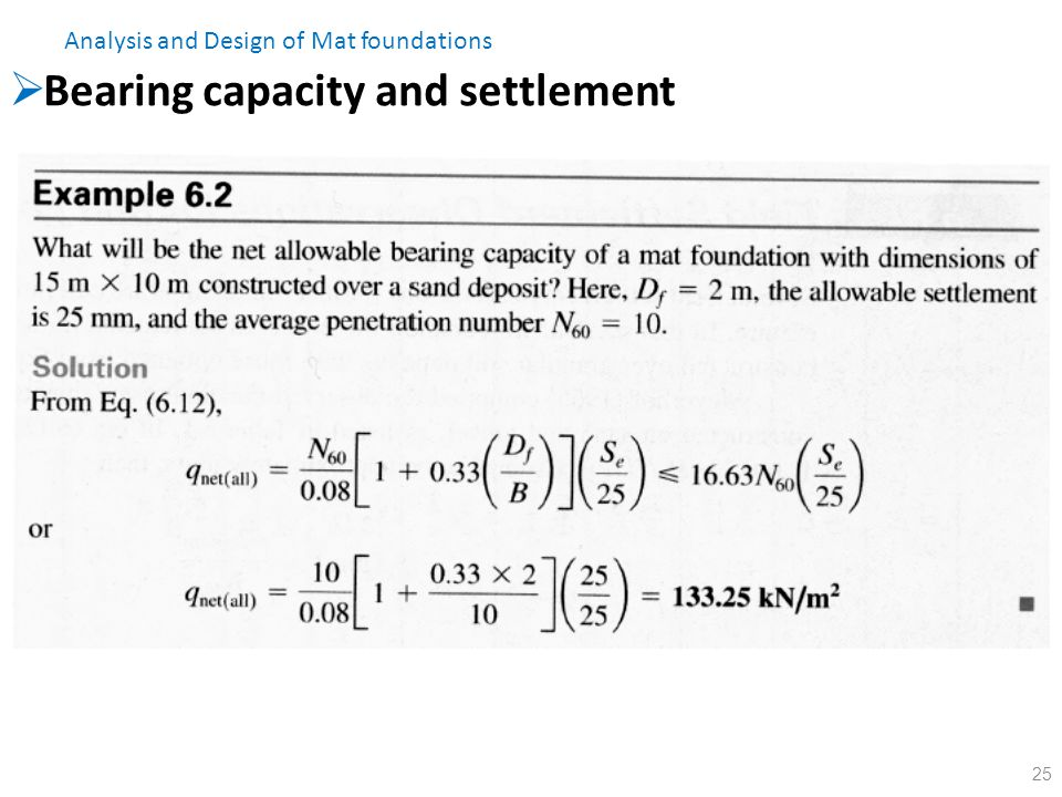 Bearing capacity and settlement