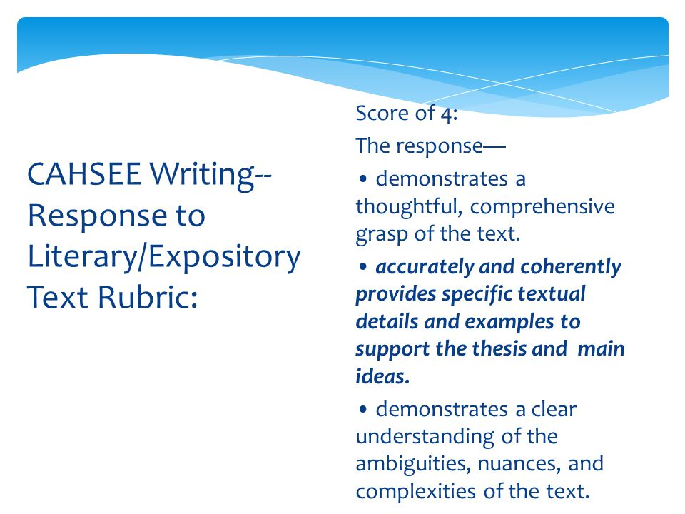 cahsee essay rubric Cahsee requirement in four years continue to try to pass the cahsee in   using a four-point rubric that indicated the essay response.