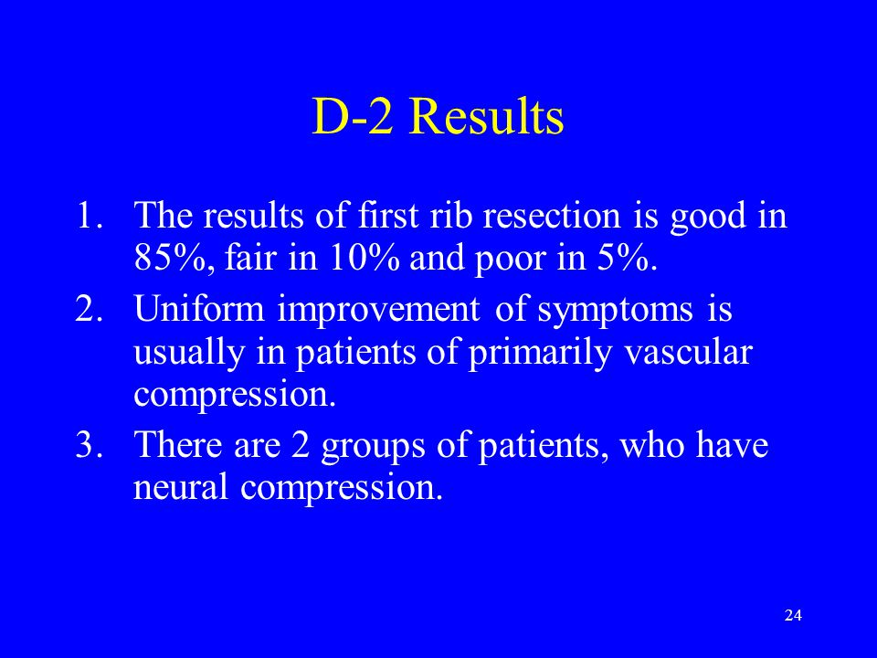 D-2 Results The results of first rib resection is good in 85%, fair in 10% and poor in 5%.