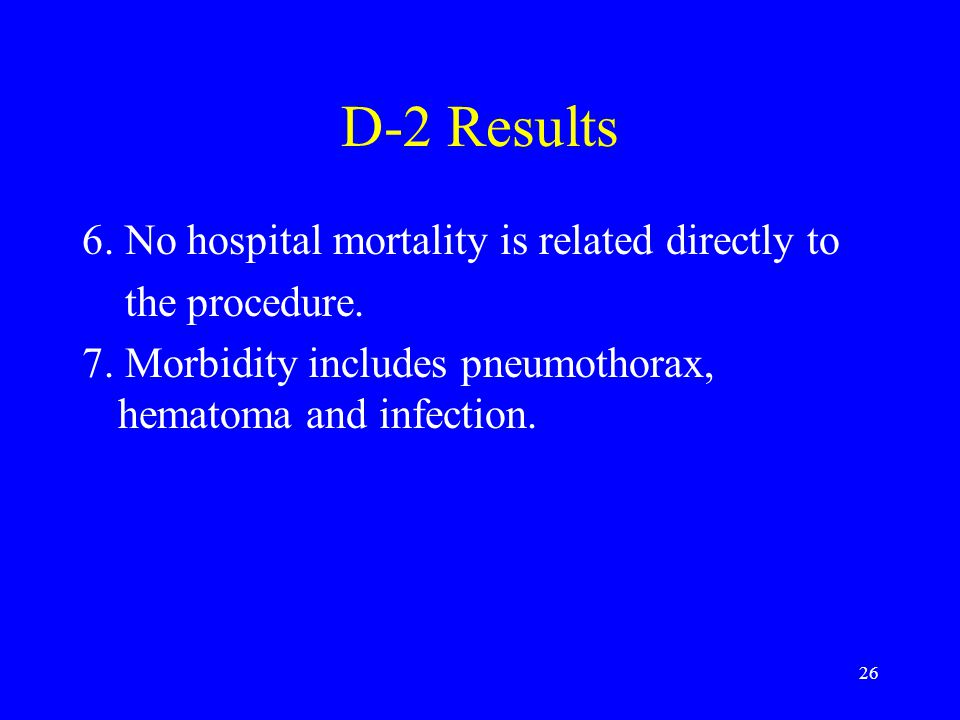 D-2 Results 6. No hospital mortality is related directly to