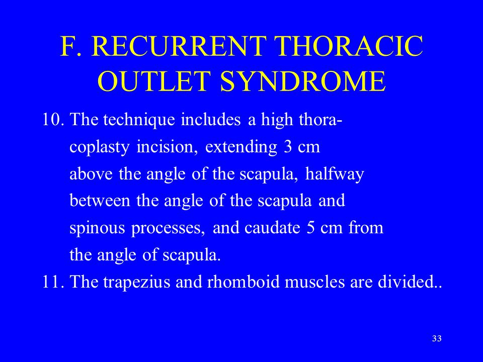 F. RECURRENT THORACIC OUTLET SYNDROME