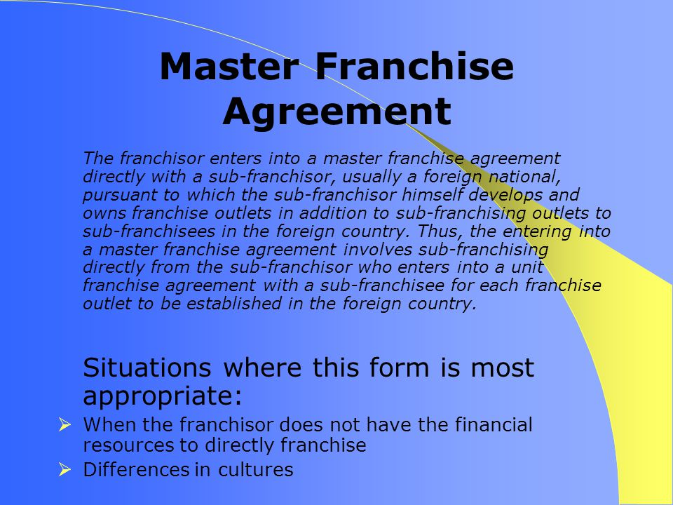 Franchise agreement form