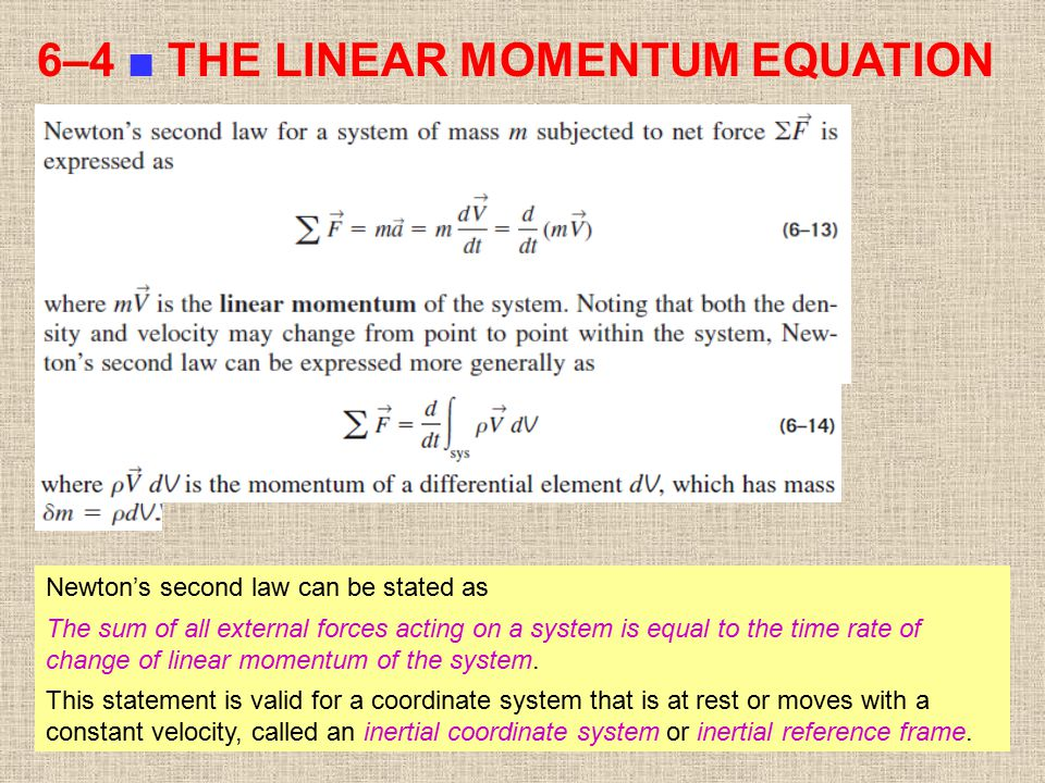 6–4 ■ THE LINEAR MOMENTUM EQUATION