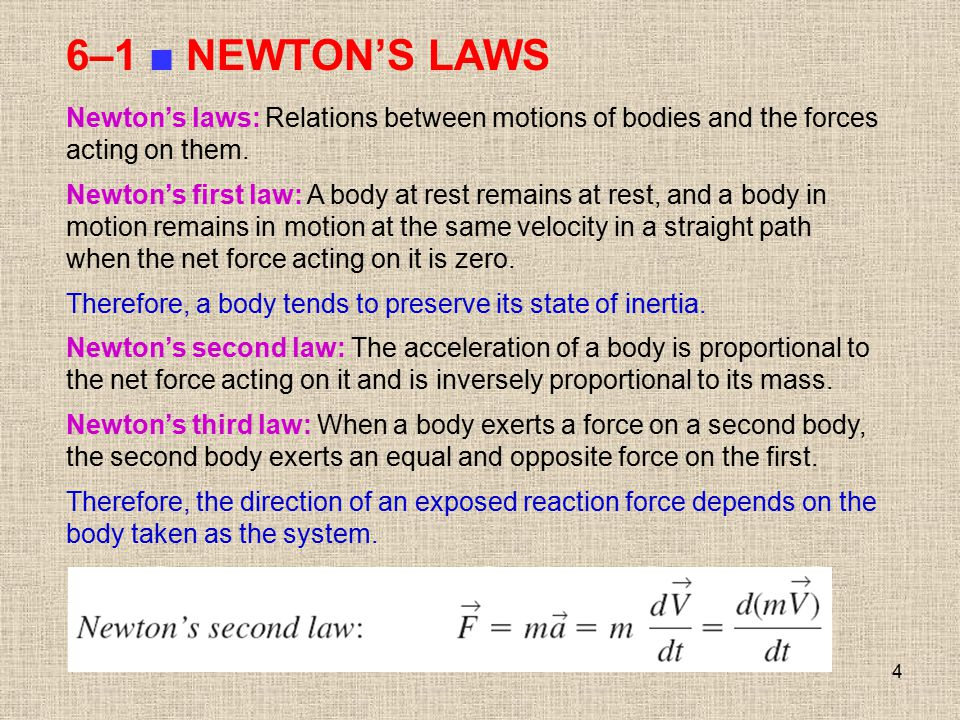 6–1 ■ NEWTON'S LAWS Newton's laws: Relations between motions of bodies and the forces acting on them.