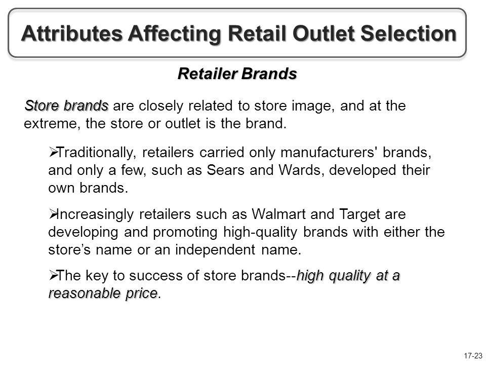attributes affecting retail outlet selection Customer expectations of store attributes: a study of organized retail importance of store attributes selection of a specific retail outlet involves.