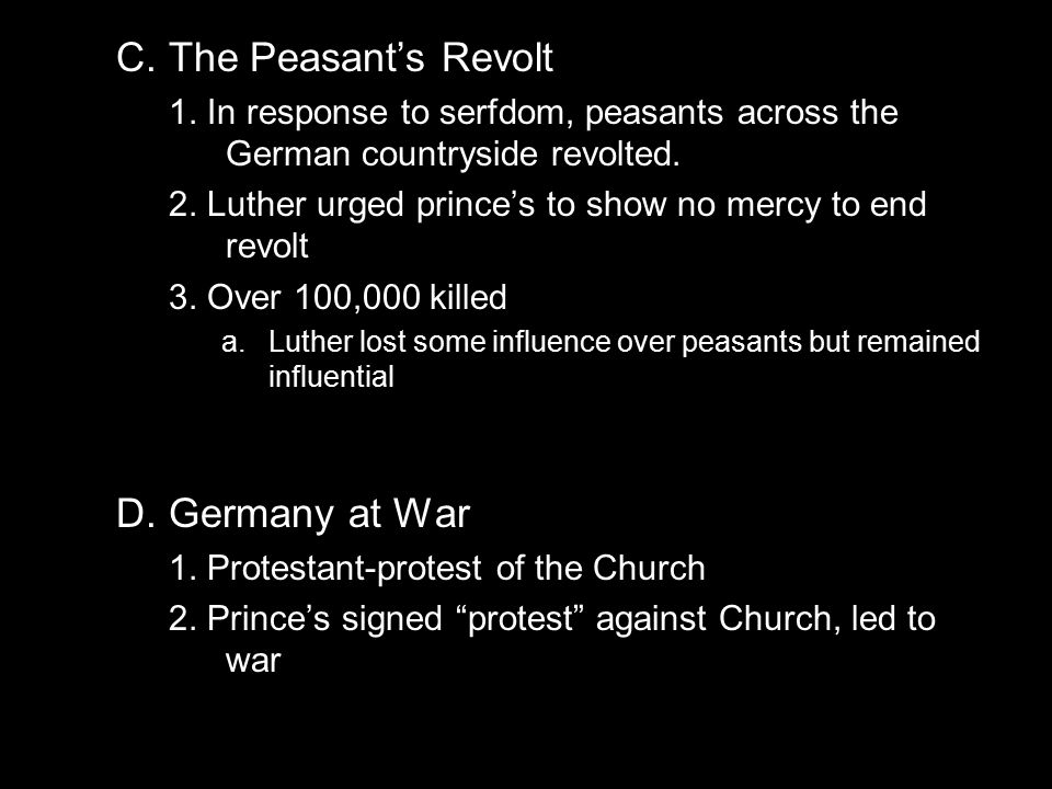 protestant reformation and german peasants war In the same time-frame many of the german states one of the first pitched battles of the german peasants war was (protestant) reformation.