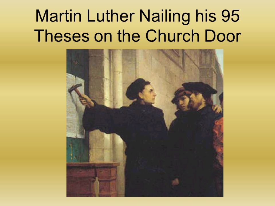 """martin luther and his thesis 495 years ago today, on october 31st, 1517, martin luther posted his 95 theses on the door of the castle church of wittenberg vocation was one topic luther covered prominently in his theological writings gene edward veith states that, luther was the first to use """"vocation"""" to refer also to ."""
