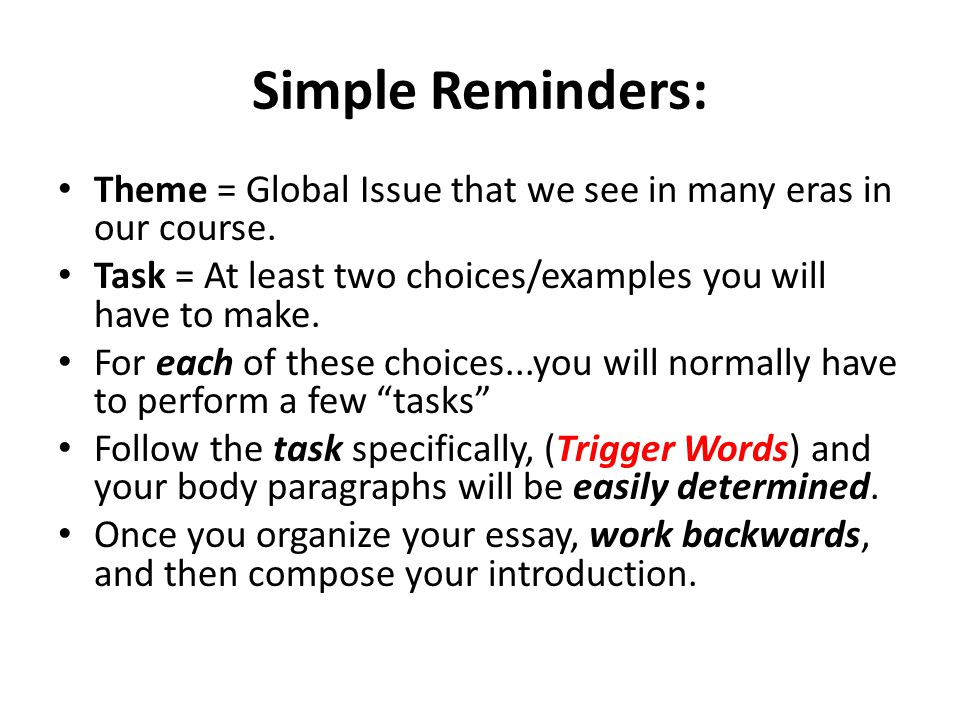 thematic essay global regents rubric