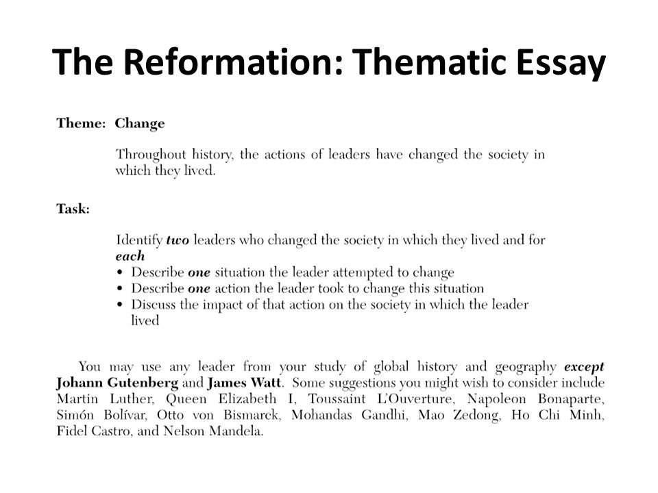 thematic essays global Regents essay topics from mr ott's classroom wiki jump to: navigation, search below you will find a listing of the last nys global history regents topics for both the thematic and dbq essay.