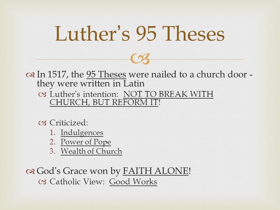 95 theses latin text Martin luther, 1483 - 1546: to p wittenberg web selected hymns (german, latin & english) 95 theses contents page formula missae.