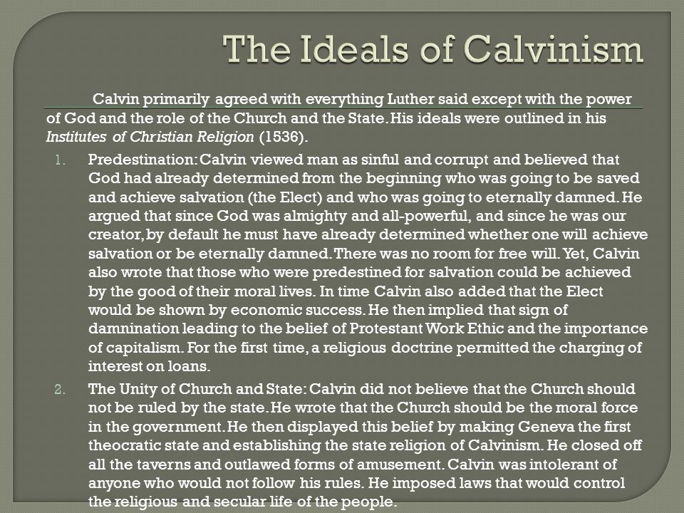 predestination and free being in calvinism
