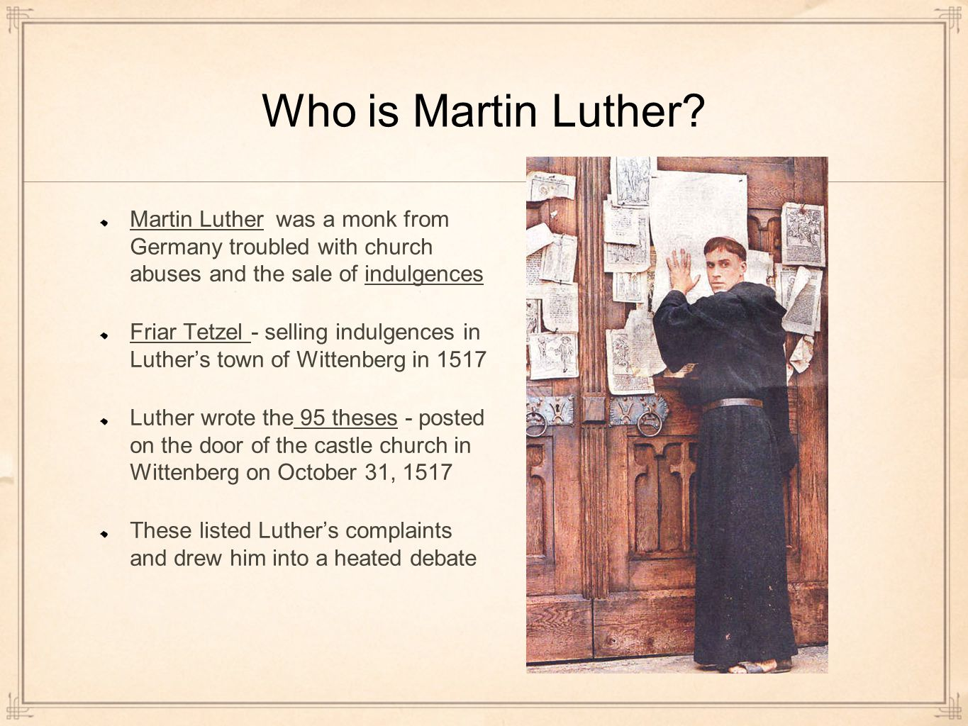 the 95 theses impact Martin luther (1483-1546), a  luther also had an impact on standardizing the german language  legend has it that martin luther nailed his 95 theses to the.