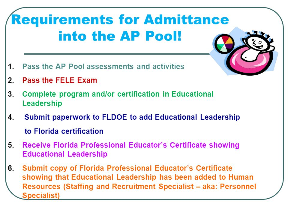 Requirements for Admittance into the AP Pool!