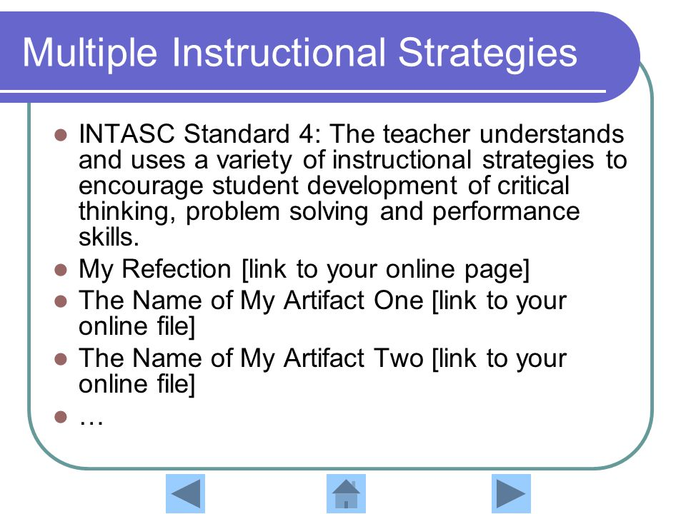 Multiple Instructional Strategies