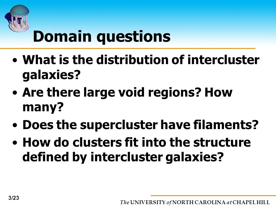 Domain questions What is the distribution of intercluster galaxies