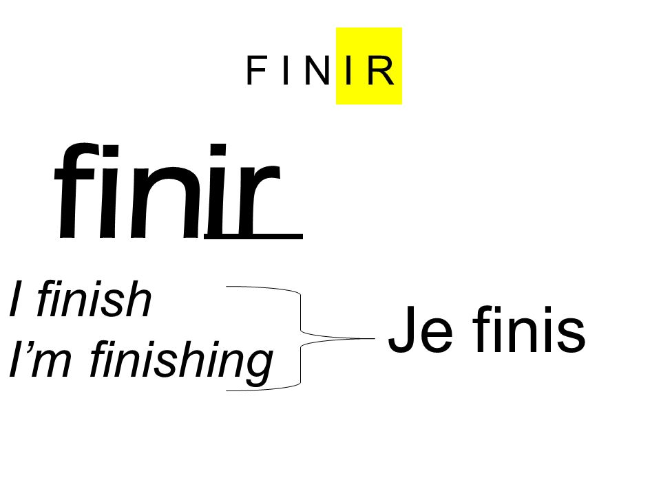 F I N I R fin ir I finish I'm finishing Je fin is