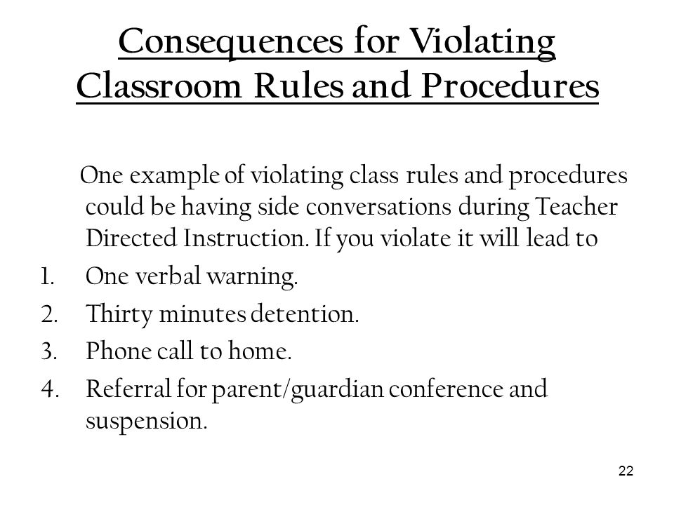 Consequences for Violating Classroom Rules and Procedures