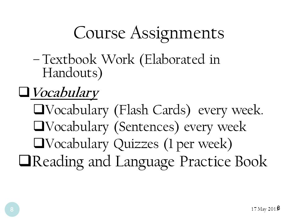 Course Assignments Reading and Language Practice Book