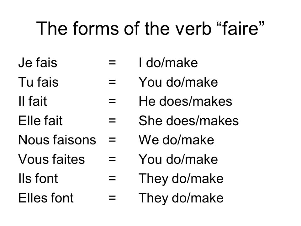 The forms of the verb faire