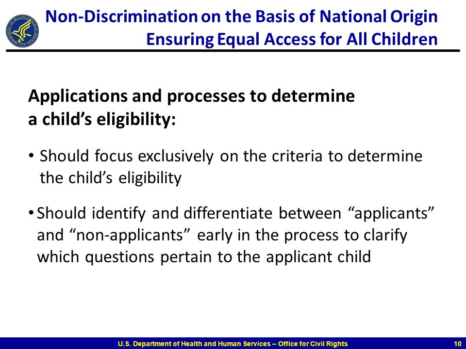 Applications and processes to determine a child's eligibility: