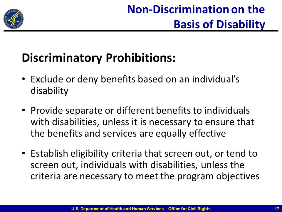 Non-Discrimination on the Basis of Disability