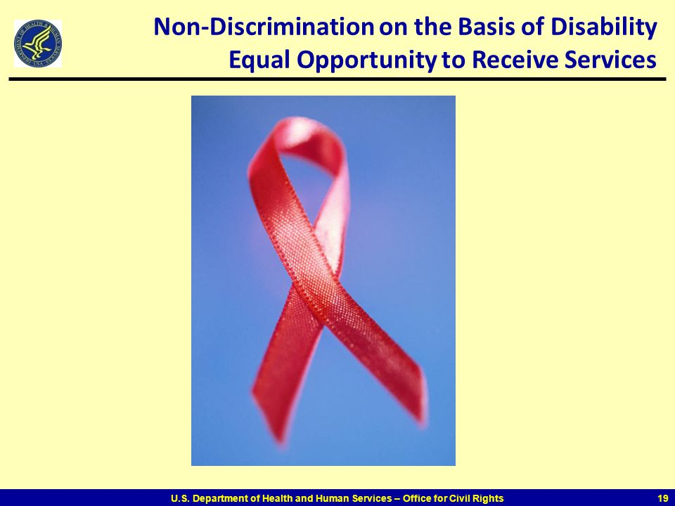 Non-Discrimination on the Basis of Disability Equal Opportunity to Receive Services