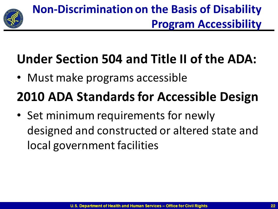 Non-Discrimination on the Basis of Disability Program Accessibility
