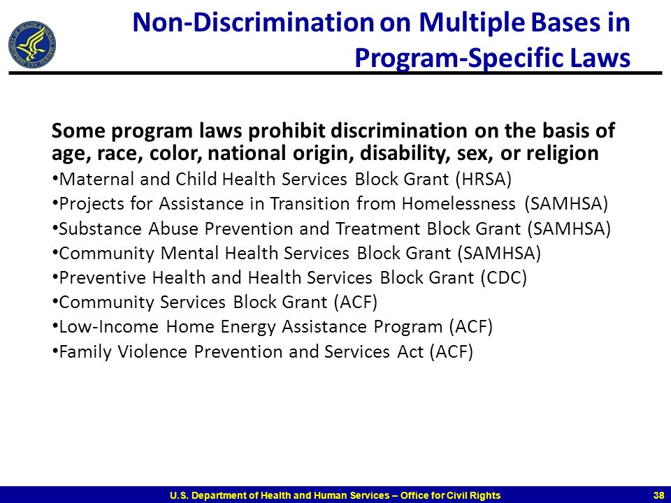 Non-Discrimination on Multiple Bases in Program-Specific Laws
