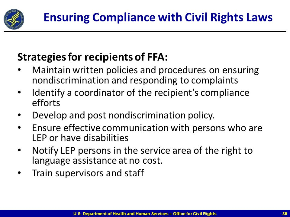 Ensuring Compliance with Civil Rights Laws