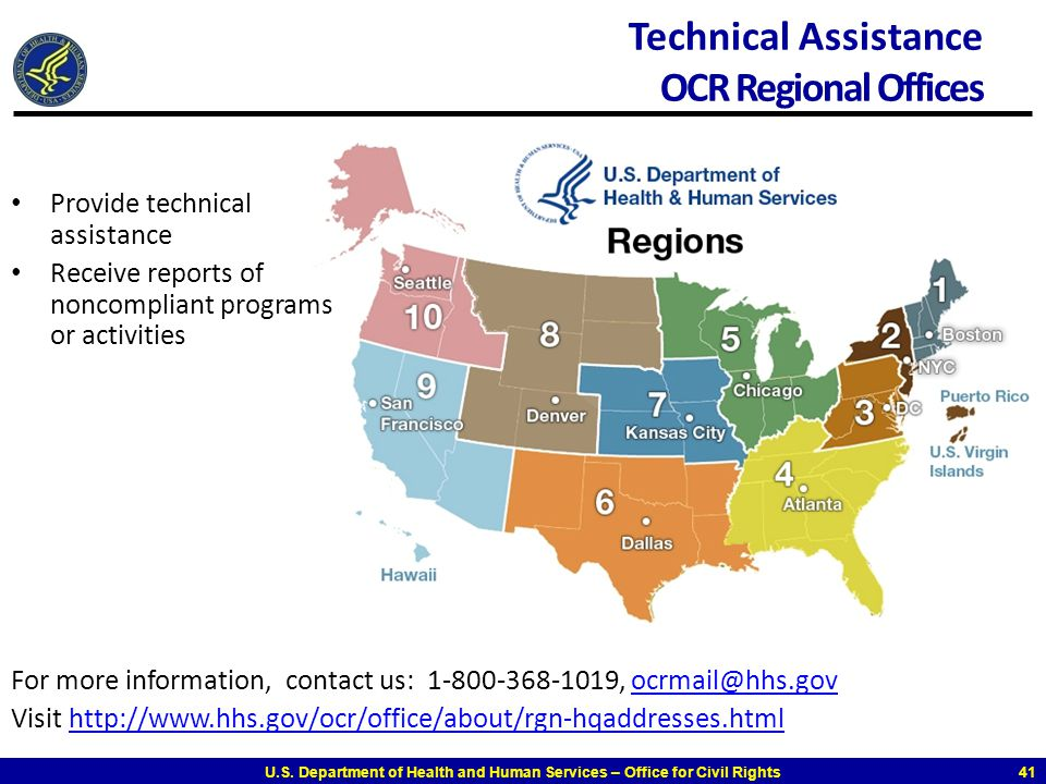 Technical Assistance OCR Regional Offices
