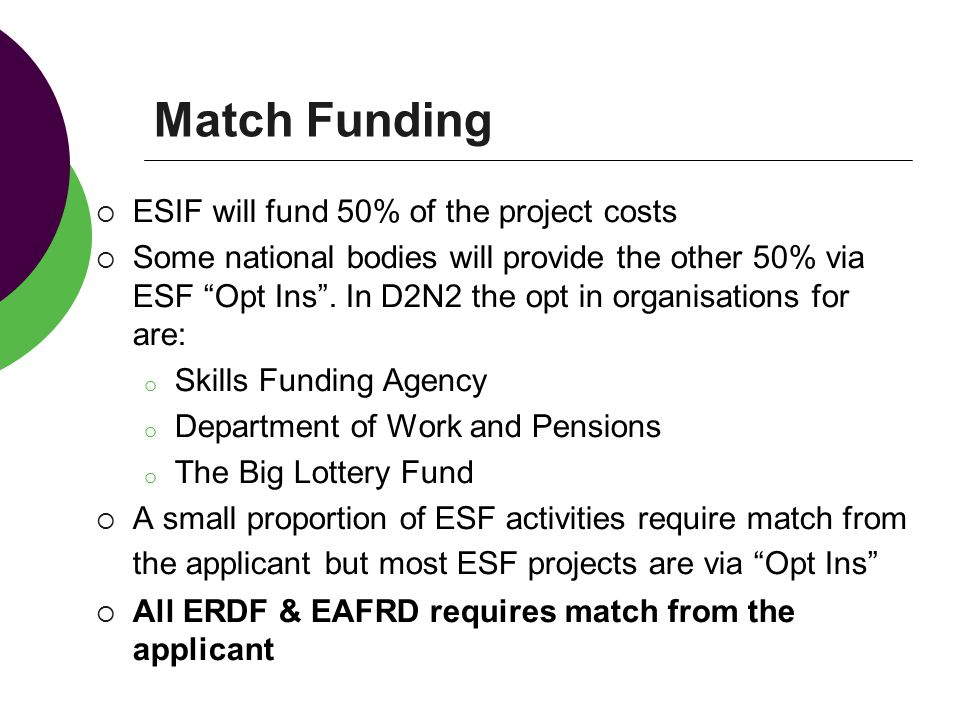 Match Funding ESIF will fund 50% of the project costs