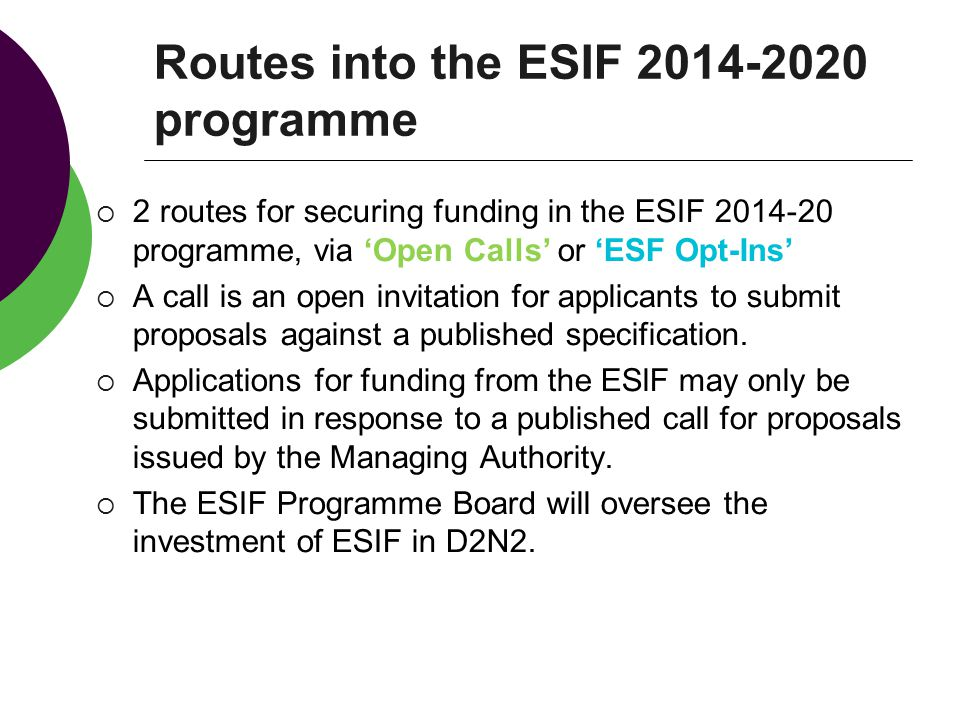 Routes into the ESIF programme