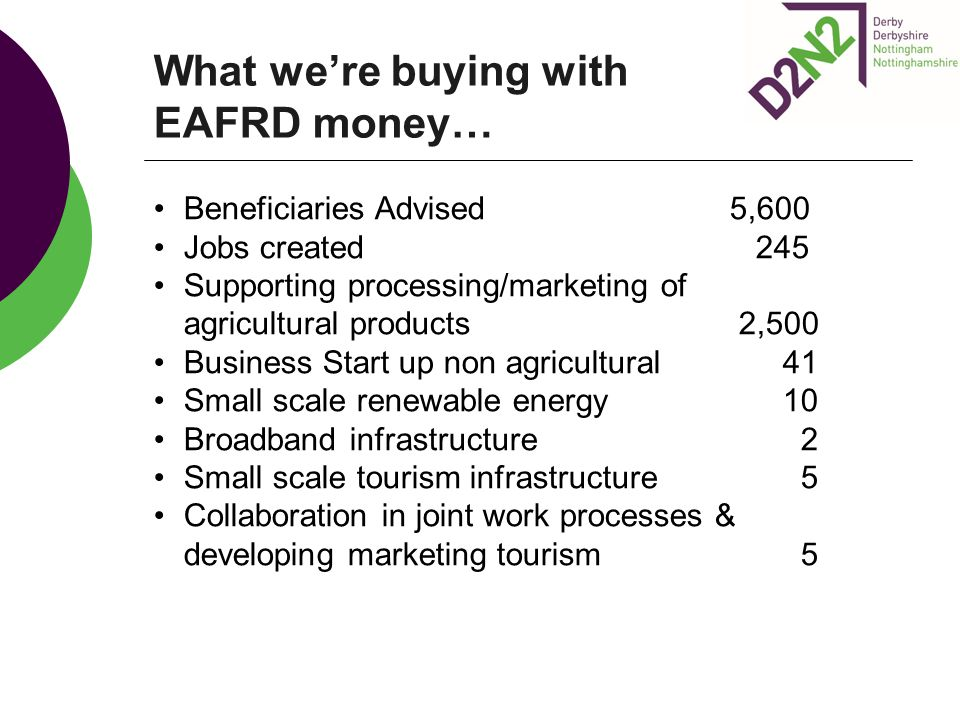 What we're buying with EAFRD money…