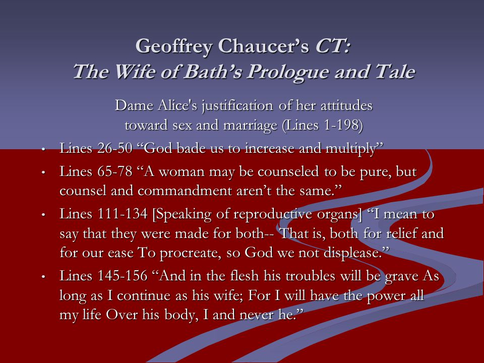 an analysis of dame alice in the wife of bath Summary and analysis of the wife of bath's tale canterbury tales, chaucer introduces dame alice (who is known as the wife of bath) as an obstinate.