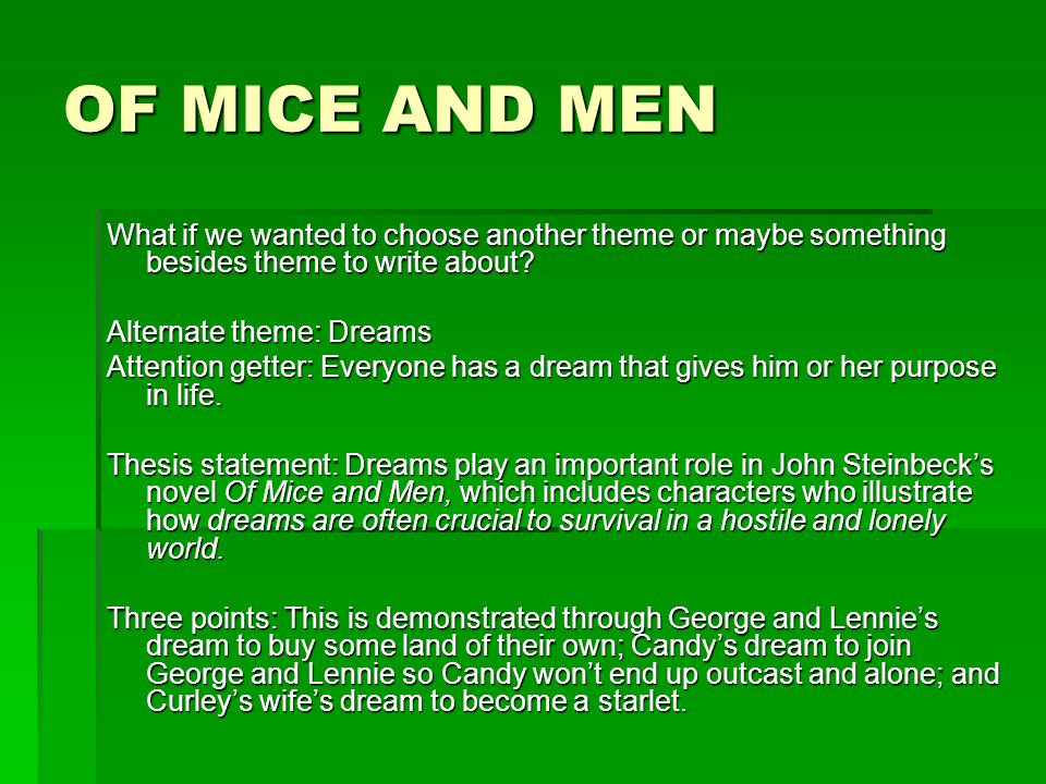 the three lonely outcast in of mice and men by john steinbeck Of the novel of mice and men by john steinbeck are  and being an outcast in society of mice and men  three requirements mica and men.