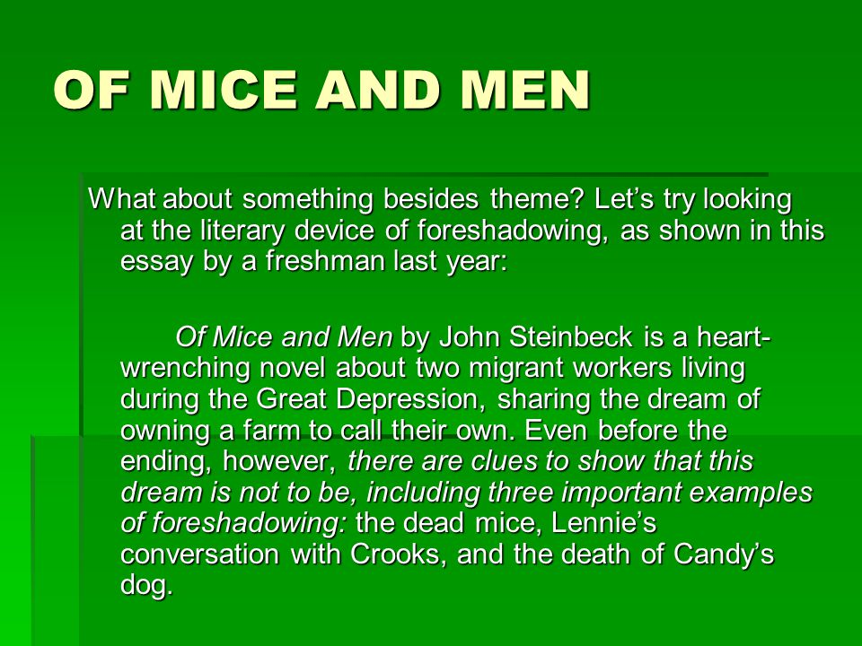of mice and men essay conclusion paragraph Of mice and men expository essay john steinback's of mice and men is a book that describes the chase of the american dream although achieving the american dream is a great desire for all, seldom does it actually come true.