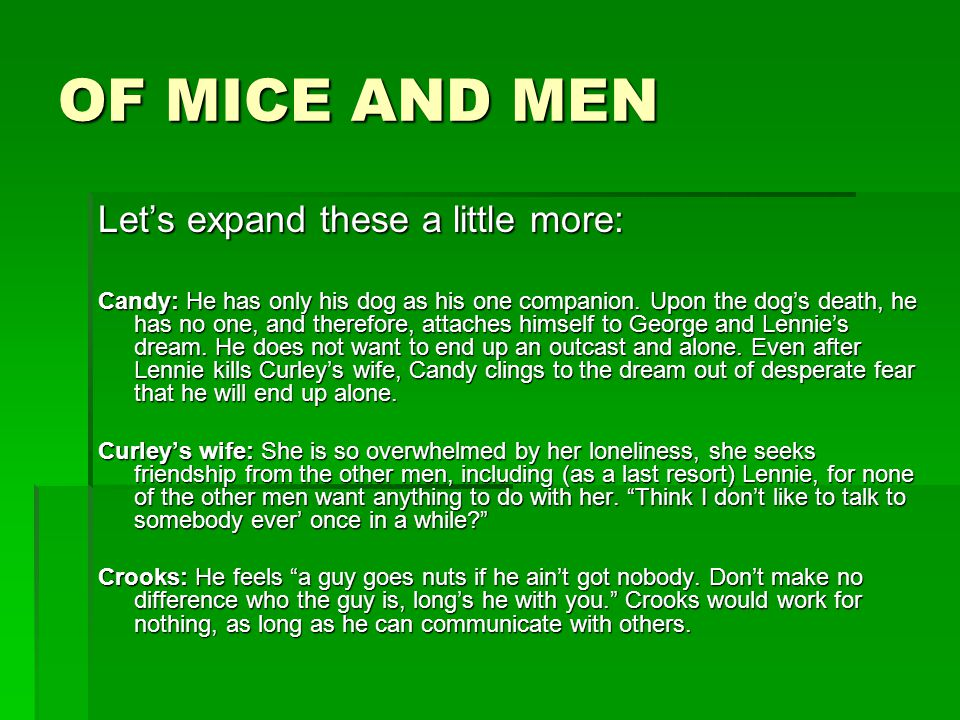 of mice and men loneliness essay george and lennie Of mice and men loneliness essay of mice and men - 728 words of mice and men is about two guys named george milton and lennie small who are traveling farm workers george is a short, tan-skinned, strong, smart man who takes care of lennie lennie is a tall, strong guy but he has a mental retardation while on.