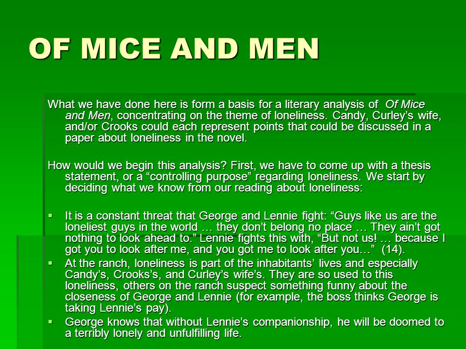 Of Mice And Men: Loneliness