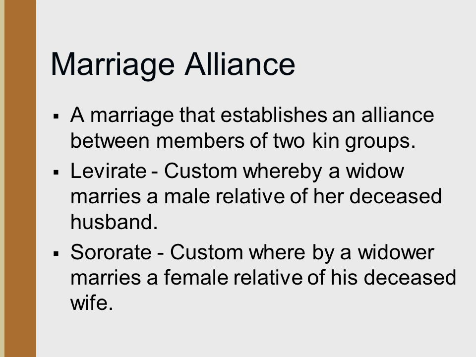 Marriage Alliance A marriage that establishes an alliance between members of two kin groups.