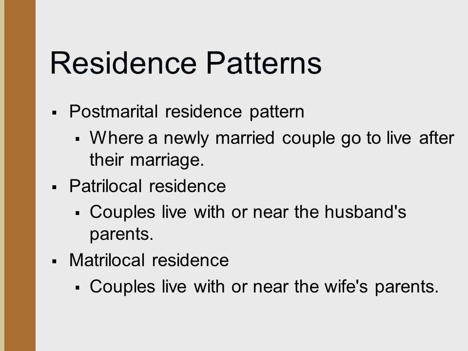 Residence Patterns Postmarital residence pattern
