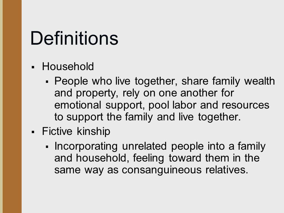 Definitions Household